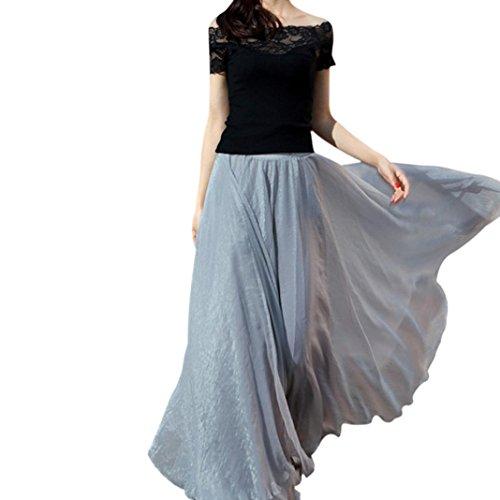 Fulltime?Femmes taille lastique en mousseline de soie longue Maxi Dress gray