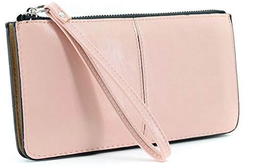 Gracave Leather Clutch Purse (fit Iphone7)【Women's Leather Clutch Wallet】 with wrist strap (Pink Plum) - Plum Clutch