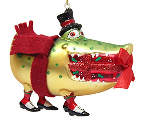 December Diamonds Blown Glass Ornament - Crocodile Biting Gift and Wearing a Top Hat - Top Hat Blown Glass Ornament