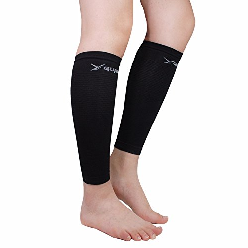 (Leg Compression Sleeve Pair Tattoo Cover up for Women Men - Calf Shin Support for Shin Splints and Calf Pain Relief Basketball Running Enhance Blood Circulation Two Pieces (Black))