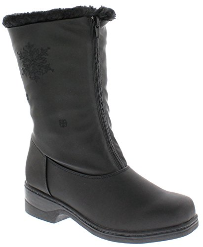 Boston Accent Round Toe Black Snow Boot for Women | Women Synthetic Mid Calf Black Winter Boot Size-9 W US (Boston Accent Boots)