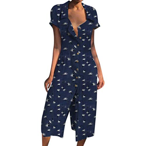 JJLIKER Womens 1950s Vintage Floarl Print V Neck Lapel Button Short Sleeve Dress Slim Casual Soft Shirt Dress Navy]()