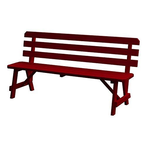A&L Furniture Traditional Backed Wooden Bench, Tractor Red, 6' - 6' Backed Bench