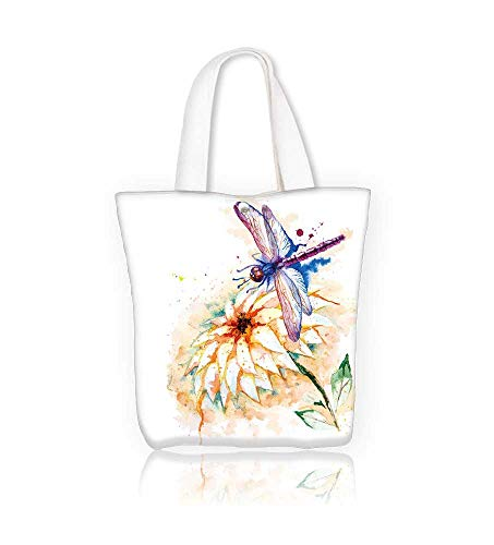 Ladies canvas tote bag Greeting with beautiful watercolor flying violet dragonfly and lily flower reusable shopping bag zipper handbag Print Design W14xH15.7xD4.7 INCH ()