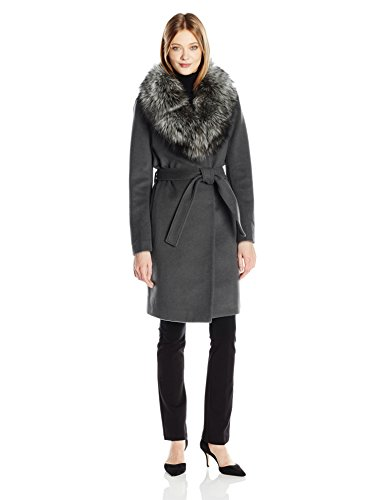 Elie Tahari Women's Sasha Wool Wrap Coat with Real Fur Collar, Dim Grey, XS