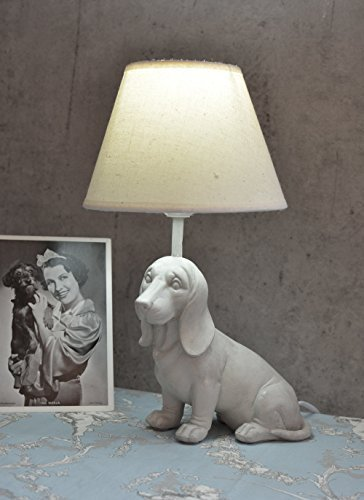 Figural Table Lamp Dachshund Lamp In Country House Style Table Desk Lamp  White Palazzo Exclusive