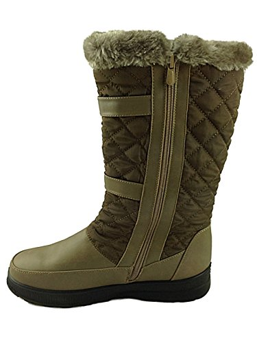 Fur Size Buckle Boots Lined Brown 7 Quilted Snow Ladies Shoe Brown Winter Warm Faux wIxPqzgCz