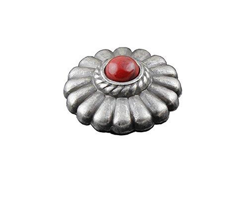 [Biker Rock Western Vintage Red Onyx Metal Round Concho Button Screw Back #9] (Biker Concho)