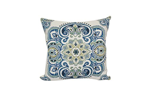 Urban Loft by Westex Medallion Feather Filled Decorative Throw Pillow Cushion 20 x 20 Blue