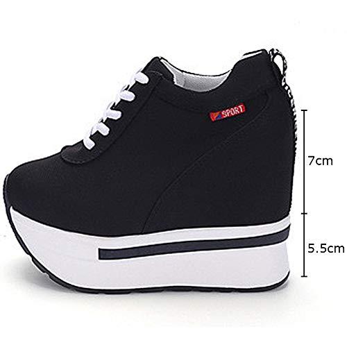 Femme Noir Dcontract Sneakers Compense Basket Semelle Montante xwFF5tp