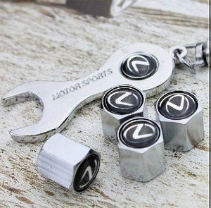 free-shippinghigh-quality-steel-car-air-tire-valve-caps-with-keychain-combo-set-for-lexus