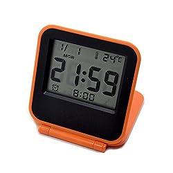 Smart Electronic Digital Travel Alarm Clock Multifunction Mini Square Pocket Size Portable Foldable Alarm clock with Calendar Temperature Backlight Repeating Snooze - Best Christmas Gift HM01(orange)