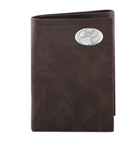 NCAA Clemson Tigers Brown Wrinkle Leather Trifold Concho Wallet, One Size