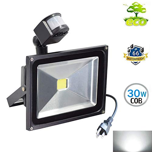30W Cool White Motion Sensor Flood Light,for Driveway, Garage, Pathway, Car Park, Forecourt Porch, Entryways Driveway, Waterproof Floodlight Outdoor Security Motion Light Plug in with US 3-Plug
