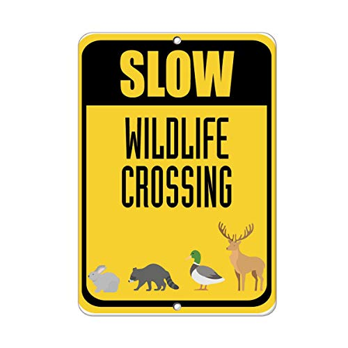 New Slow Wildlife Crossing Traffic Sign Aluminum Metal Sign 8 in x 12 in (Wildlife Crossing Sign)