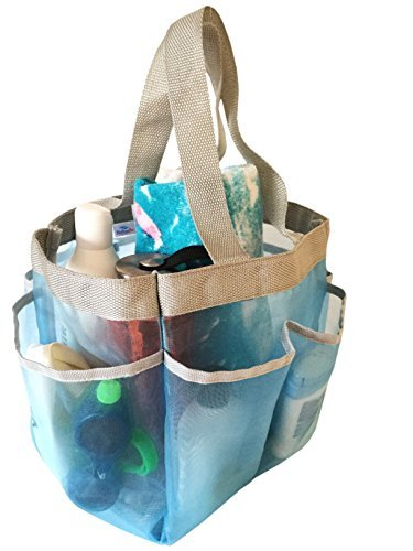 Quick Dry and Portable Hanging Mesh Shower Caddy - Shower Tote Bag for Gym Camp College Dorm, Blue