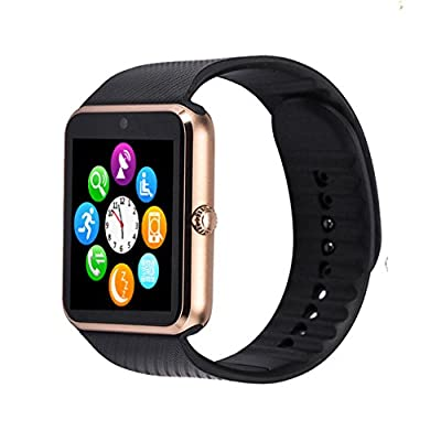 GT08 Bluetooth Smart Watch for Android Phones? Beaulyn Smart Watch with SIM Card Slot,Call,Massage,for iOS Phone and Android Phones ZTE Sony LG Smartphones, Sweatproof(Gold-Black)