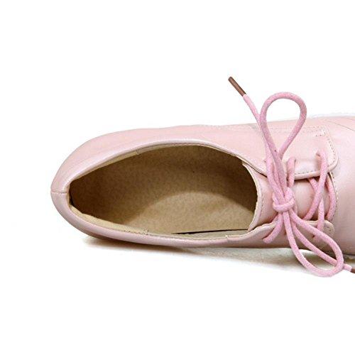 TAOFFEN Women's Lace up Flatform Shoes Pink lbw11pK5