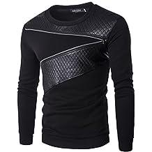 What Lees Mens Long Sleeve Crew Neck Zip Leather Sweatshirt