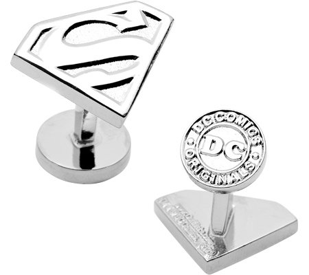 Men's Silver Superman Shield Cufflinks Silver Cuff Links