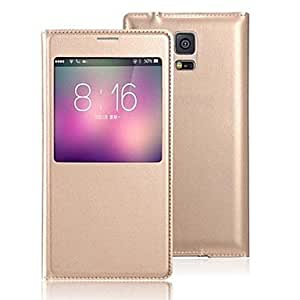 DUR Screen Visible PU Leather Full Body Case for Samsung Galaxy S5 I9600 (Assorted Color) , Golden