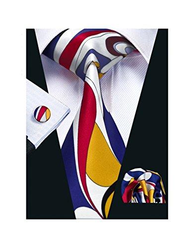 Barry.Wang Printed Silk Tie Set Hanky Cufflinks Party Neckties (Red Blue Yellow White) - Design Printed Silk Tie