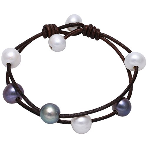 Cultured Freshwater White and Black Pearl Bracelet Handmade Genuine Leather 2 Strand Jewelry Gift for Women Girls 7.8'' Dark Brown