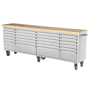 "96"" 24 Drawer Wide Stainless Steel Anti-Fingerprint Tool Chest with Work Station"