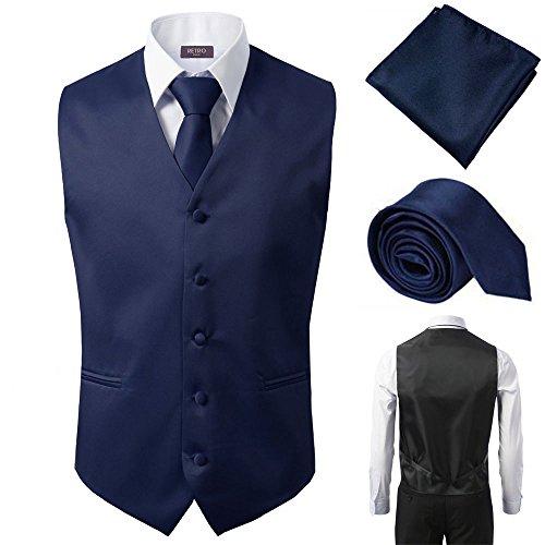 3 Pcs Vest + Tie + Hankie Navy Fashion Men's Formal Dress Suit Slim Tuxedo Waistcoat Coat (Medium)