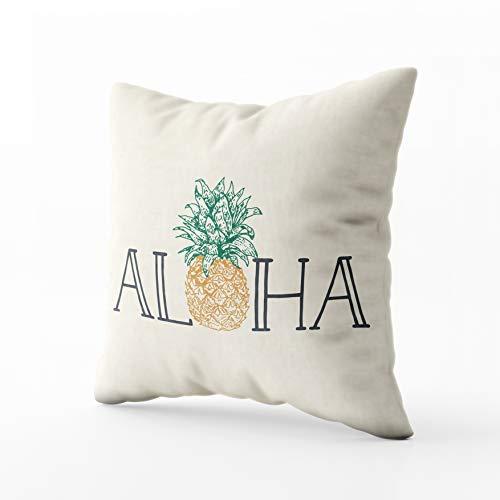 Musesh Christams Hawaiian Pineapple Lumbar Cushions Case Throw Pillow Cover for Sofa Home Decorative Pillowslip Gift Ideas Household Pillowcase Zippered Pillow Covers 16X16Inch