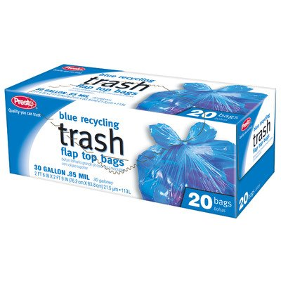 Presto GKL042927-1 30 Gallon Blue Recycling Trash Bags With Flap Top 20 Count