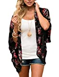 Womens Floral Print Kimono Cardigan Loose Puff Sleeve Cardigans Patchwork Cover Up Blouse Top Gray 02 M