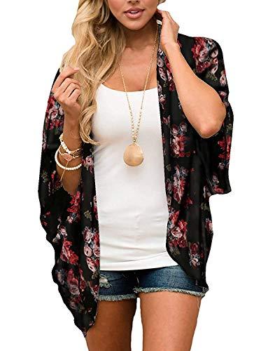 Women's Floral Print Kimono Sheer Chiffon Loose Cardigan Black XXL