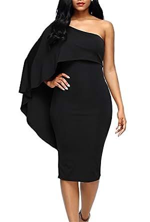 Dokotoo Womens Modest Fashion 2017 Cotton One Off Shoulder Sleeveless Ruffle Midi Bodycon Pencil Dresses Black Small