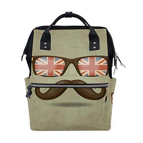 - Large Capacity Diaper Tote Nappy Bag Mummy Backpack for Baby Care,Hipster Moustache and Glasses Print Multi-Function Waterproof Travel Back Pack Stylish for Mom and Dad