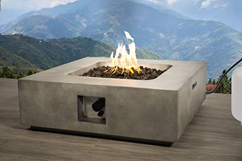 Century Modern Outdoor Fire Pit for Outdoor Home Garden Backyard Fireplace by (Square Shape -Natural Concrete) For Sale