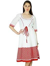 Phagun Summer Solid Print Cotton Dress Women Casual Sundress
