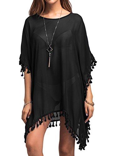 PINKMILLY Women Sheer Chiffon Tassel Swim Bathing Suits Beachwear Cover Up Free Size Black