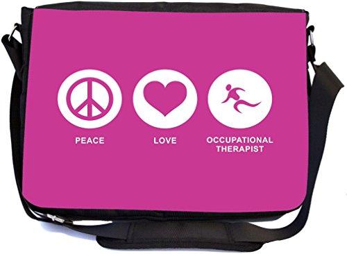 Rikki Knight Peace Love Occupational Therapist Rose Pink Color Design Multifunctional Messenger Bag - School Bag - Laptop Bag - Includes Matching Compact Mirror by Rikki Knight