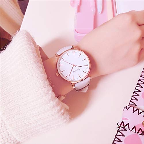 White Watch Women Girls Student Unique Woman Gift Retro Fashion Casual Atmosphere Large dial (Gray Band (Send Original) ()