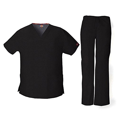 Dickies Everyday Scrubs Signature Women's V-Neck Top & Drawstring Pant Scrub Set XX-Large Tall Black by Dickies