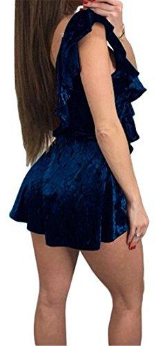 Waist Blue Womens Dress Mini Cromoncent V Cold Velvet Neck High Deep Shoulder Tank UaF6xqtwF