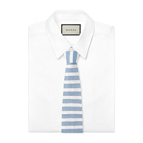 Gucci Men's Blue Linen Silk Widely Striped Knit Square Tie
