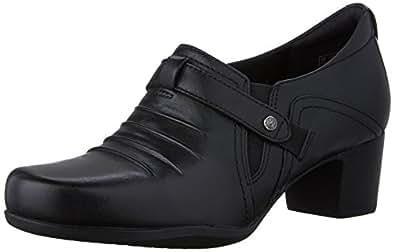 Clarks Women's Rosalyn Nicole Slip-On Loafer, Black Leather, 7 N US