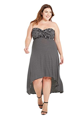 Women's Fashion Strapless Stripes High Low Comfy Jersey K...