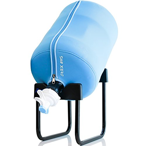 5 Gallon Glass Bottles (5 Gallon Water Bottle Jug Dispenser Rack BPA FREE 55mm Valve Thermal Insulated Cooler Cover Keeps Water Cold For Plastic Glass Jug Brewing Carboy Hand Pump (Rack + 55mm Valve + Blue Insulation Cover))