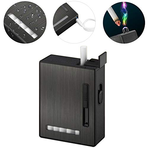 Full Pack 20 Regular Cigarettes Case/Box with Arc Lighter USB Rechargeable, Flameless, Windproof,Moisture-Proof