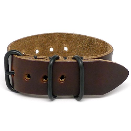 DaLuca 1 Piece NATO Watch Strap - Brown Chromexcel (PVD Buckle) : 20mm