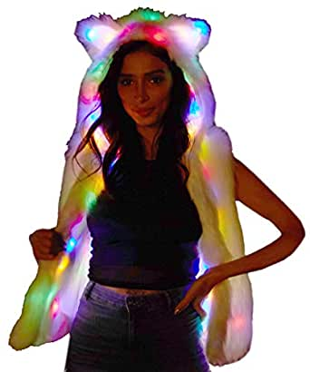 NIHUA Womens Faux Fur LED Vest Light Up Rave Hoodies Gilets Jacket Cat Ears Xmas Birthday Party Fancy Dress (2XL, White)