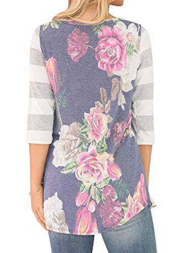 lgant Classique Rond Top Femme Branch Fille Avant Tops Top Poches Floral Casual Irrgulier Fleur Printemps Chemise Longues Col Blusen Mode Rayures Manches Impression C4qOtqnP